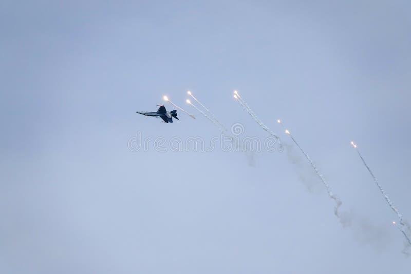 Avispón de McDonnell Douglas F-18, caza a reacción multiusos del combate imagenes de archivo