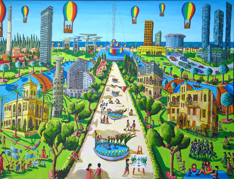 aviv城市天真绘画tel 库存照片