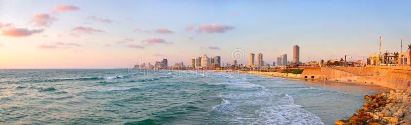 aviv海滩以色列全景tel 免版税图库摄影