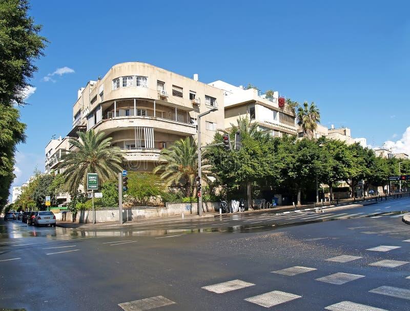aviv Ισραήλ τηλ Η οδός του Τελ Αβίβ μετά από τη βροχή στοκ εικόνες