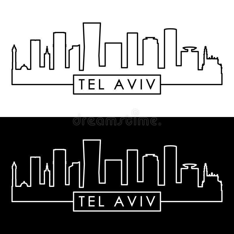 Aviv Skyline lineaire stijl vector illustratie