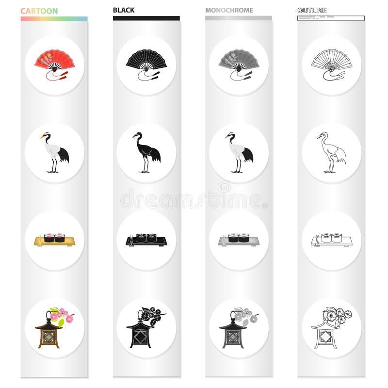 Avive, grúa pelirroja, comida japonesa del sushi, linterna nacional Iconos determinados de la colección de Japón en monocromo del libre illustration