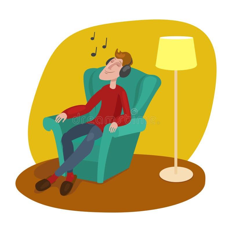Avkopplad man som lyssnar till musiktecknad filmvektorn vektor illustrationer