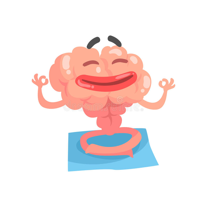 Avkopplat humaniserat tecknad filmhjärntecken som mediterar, illustration för vektor för mänskligt organ för intellekt royaltyfri illustrationer