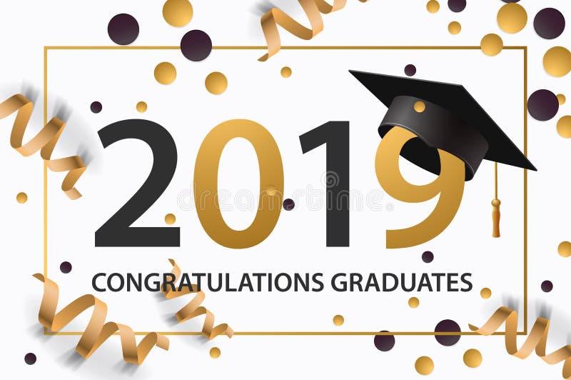 Avlägga examen grupp av 2019 Affisch partiinbjudan, hälsningkort i guld- färger Akademiker affisch, vektorillustration vektor illustrationer