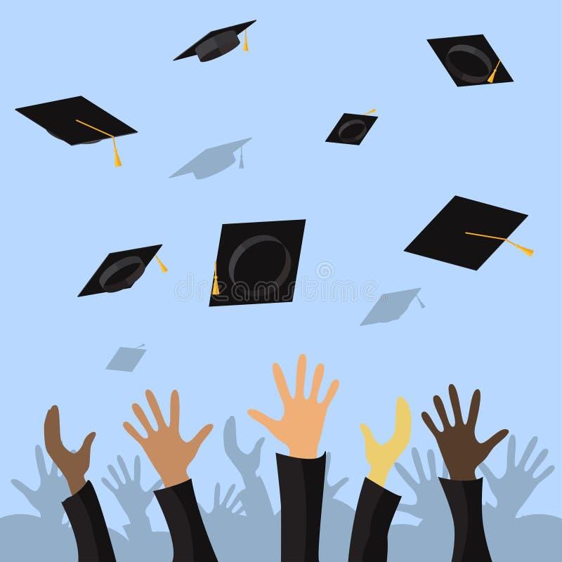 Avlägga examen studenter av elevhänder som kastar avläggande av examenlock i den plana illustrationen för luftvektor royaltyfri illustrationer