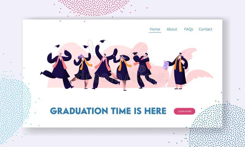 Avlägga examen studenter i kappor och lock som upp hoppar och hurrar lyckligt att få utbildning för diplomcertifikat- och fullföl royaltyfri illustrationer