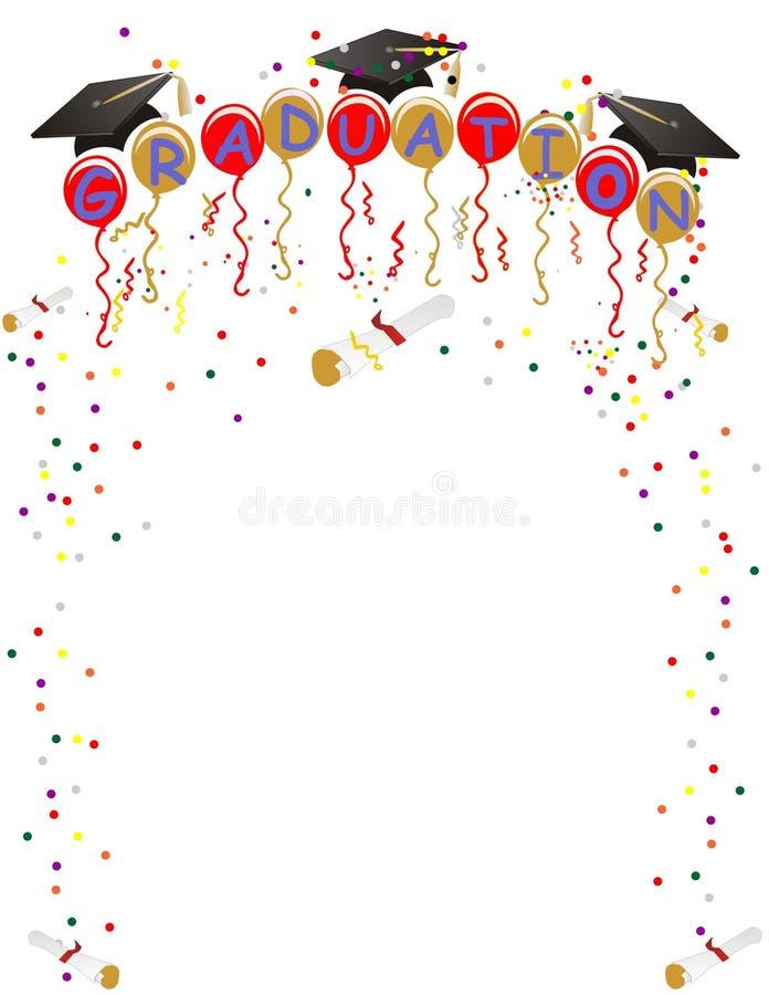 avläggande av examen för ballonsberömkonfettiar royaltyfri illustrationer