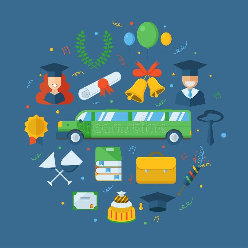 Avläggande av examen som firar begreppssymbolsuppsättningen vektor illustrationer