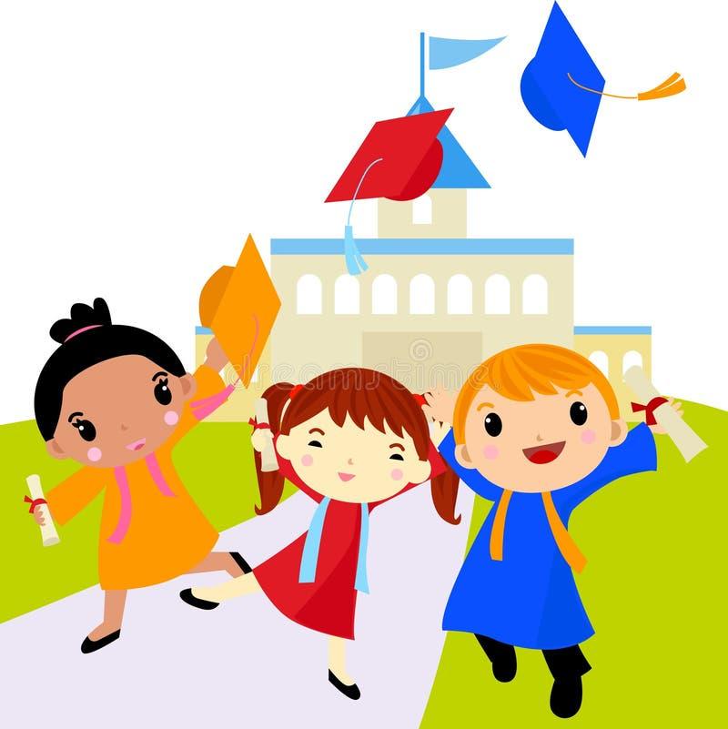 Avläggande av examenberöm stock illustrationer