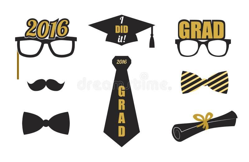 Avläggande av examenbeståndsdeluppsättning Guld svart Vektorlägenhet royaltyfria bilder