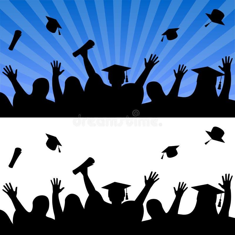 Avläggande av examendagberöm stock illustrationer