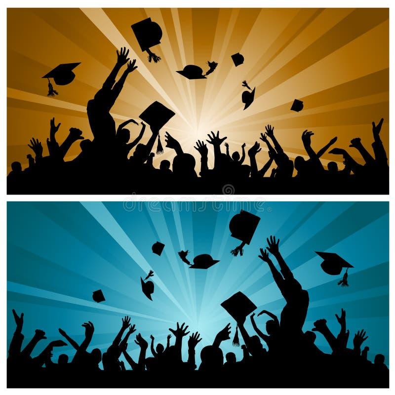 avläggande av examendeltagare vektor illustrationer