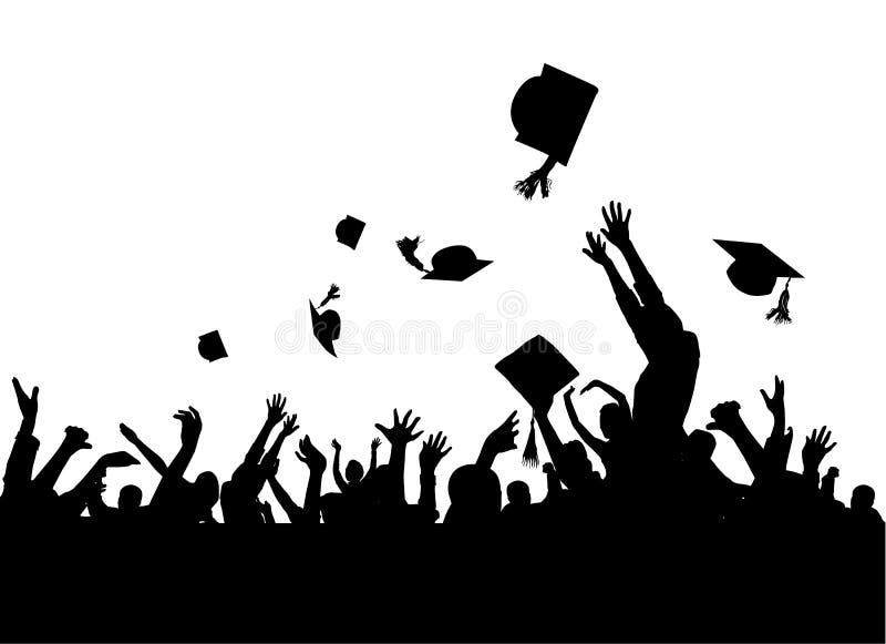 avläggande av examendeltagarevektor royaltyfri illustrationer