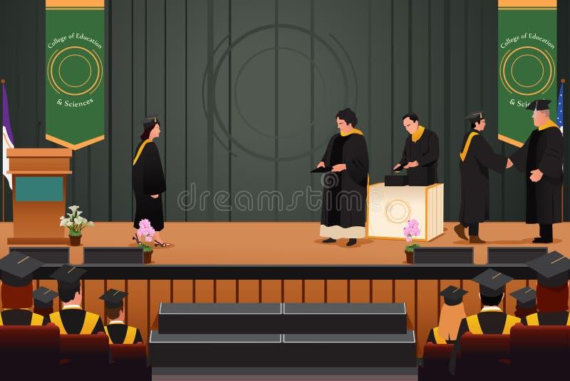 Avläggande av examenflicka på podiet stock illustrationer