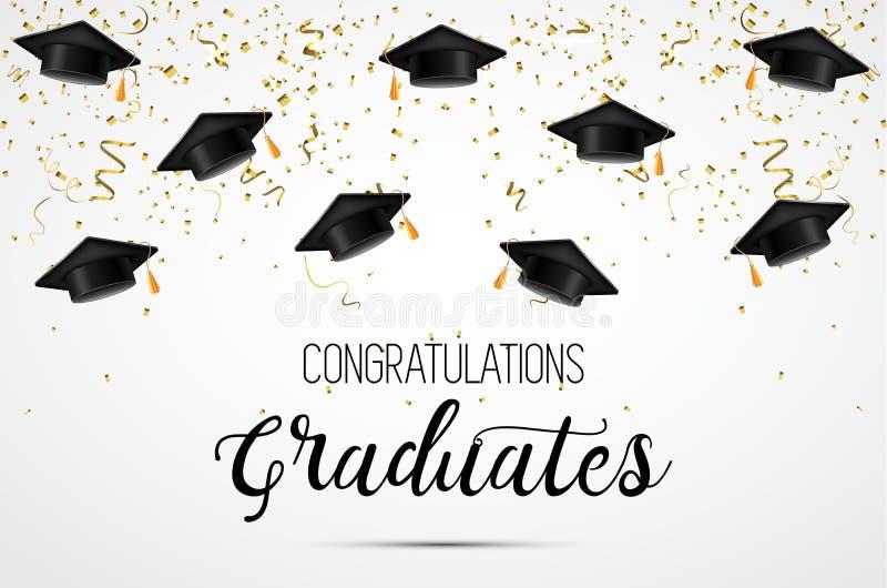 Avläggande av examengrupp av 2018 Lyckönskankandidater Akademiska hattar, konfettier och ballonger Beröm vektor illustrationer