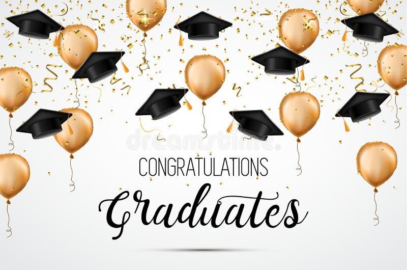 Avläggande av examengrupp av 2018 Lyckönskankandidater Akademiska hattar, konfettier och ballonger Beröm stock illustrationer