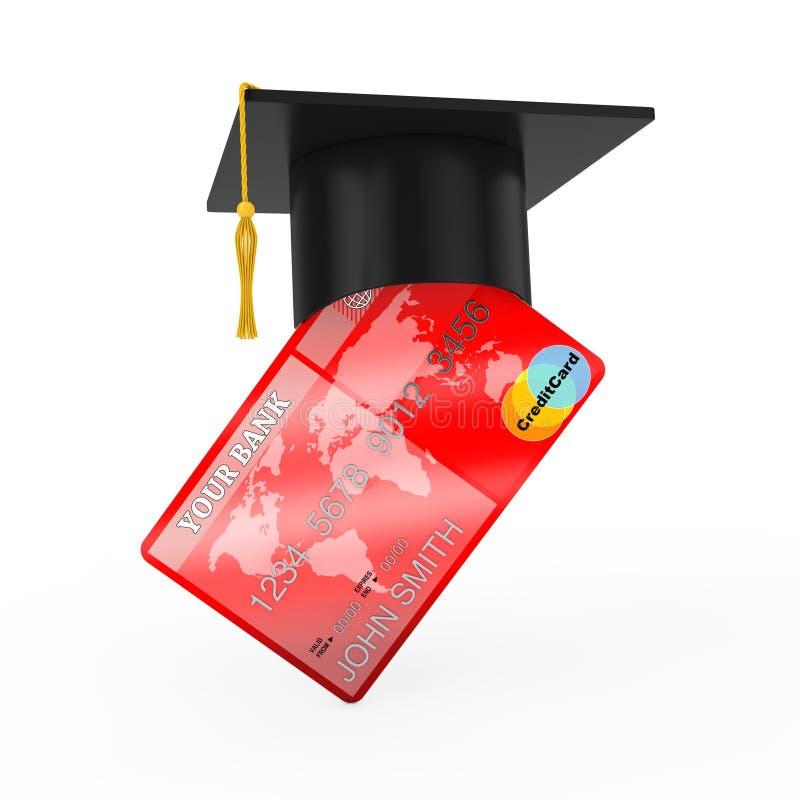 Avläggande av examenhatt över kreditkort framförande 3d royaltyfri illustrationer