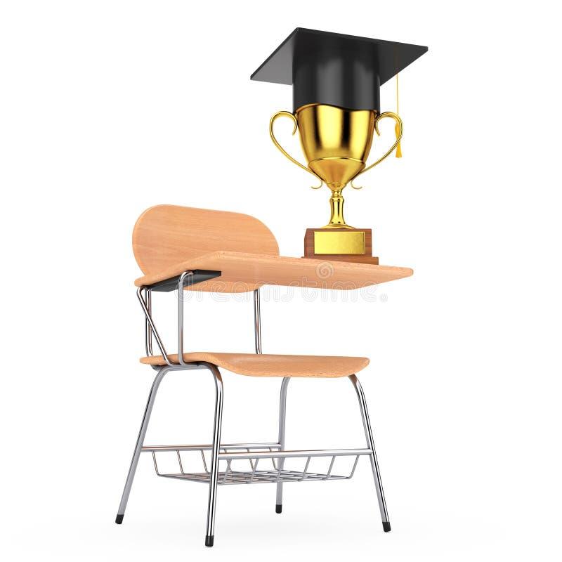 Avläggande av examenhatt med den guld- trofén över träföreläsningsskola eller vektor illustrationer