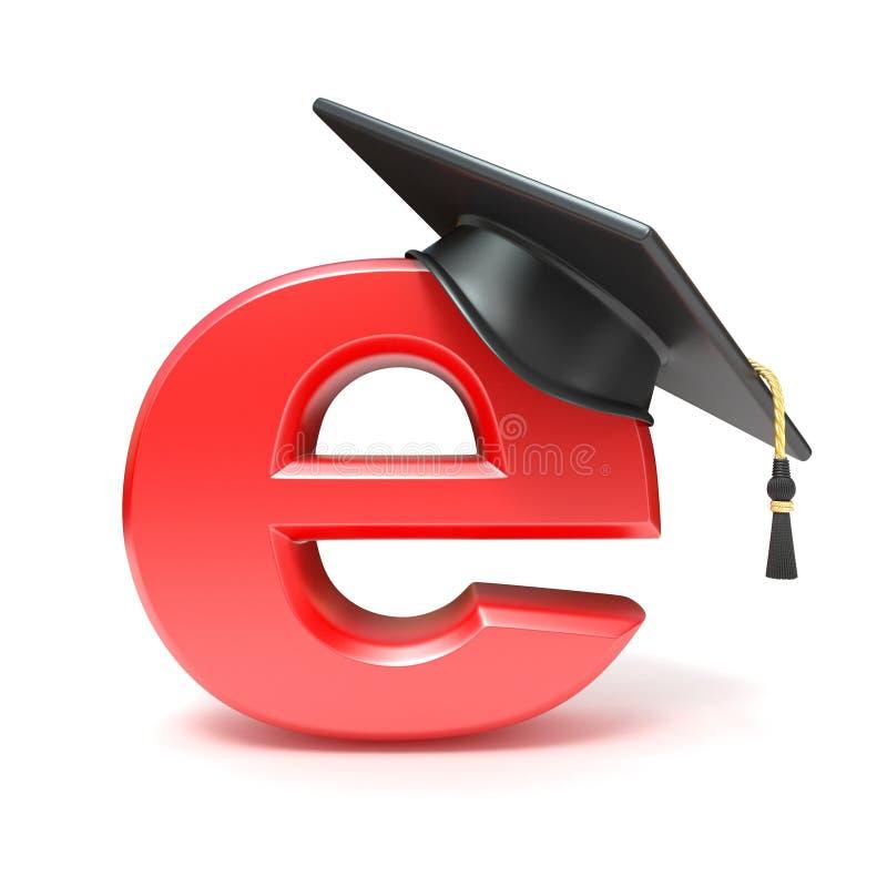 Avläggande av examenhatt på E key bärbar dator för datorbegrepp som e lärer silver 3d framför stock illustrationer