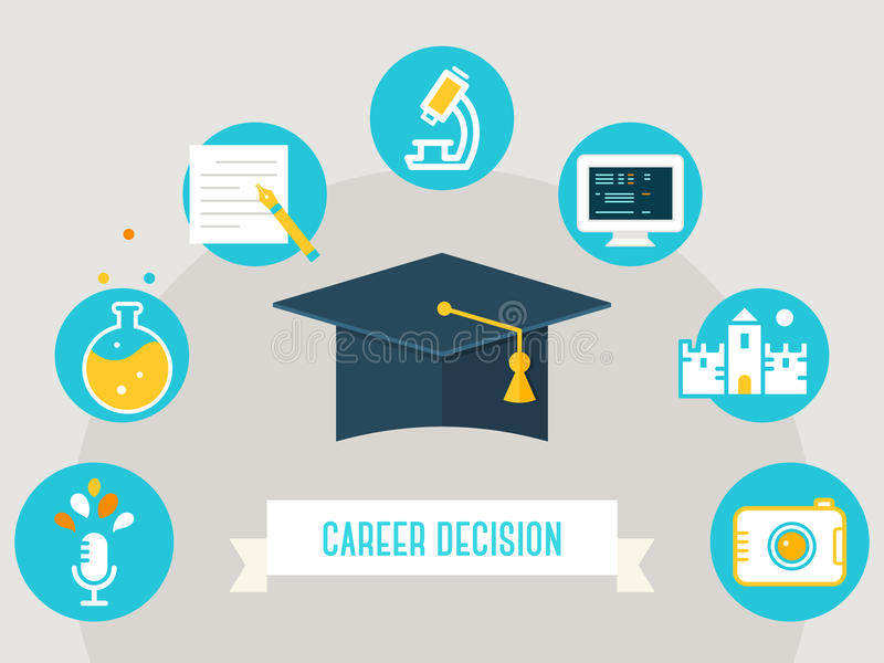 Avläggande av examenhatt som omges av utbildningssymboler Välja kurs-, karriär- eller ockupationbegrepp vektor illustrationer