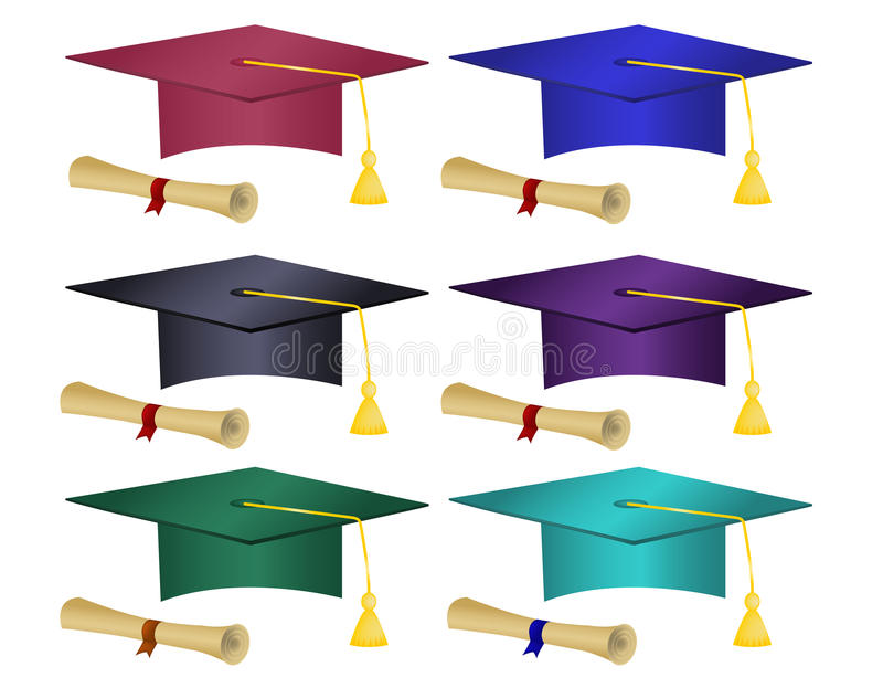 Avläggande av examenhattar & diplom för multipel kulöra vektor illustrationer