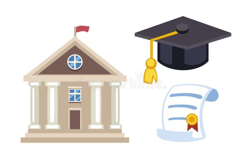 Avläggande av examenhattdiplomet isolerade symbol för universitetskolavektor stock illustrationer