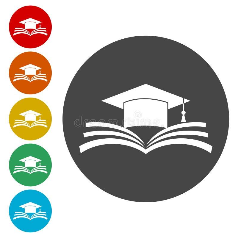 Avläggande av examenlock över den öppna boksymbolen, utbildningssymbol vektor illustrationer