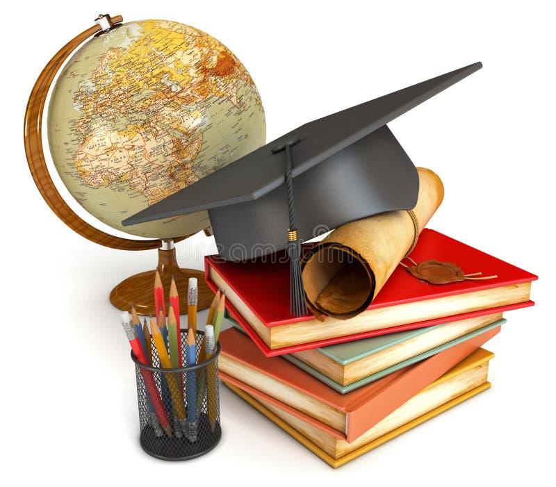 Avläggande av examenlock, diplom, böcker, jordklot royaltyfri illustrationer