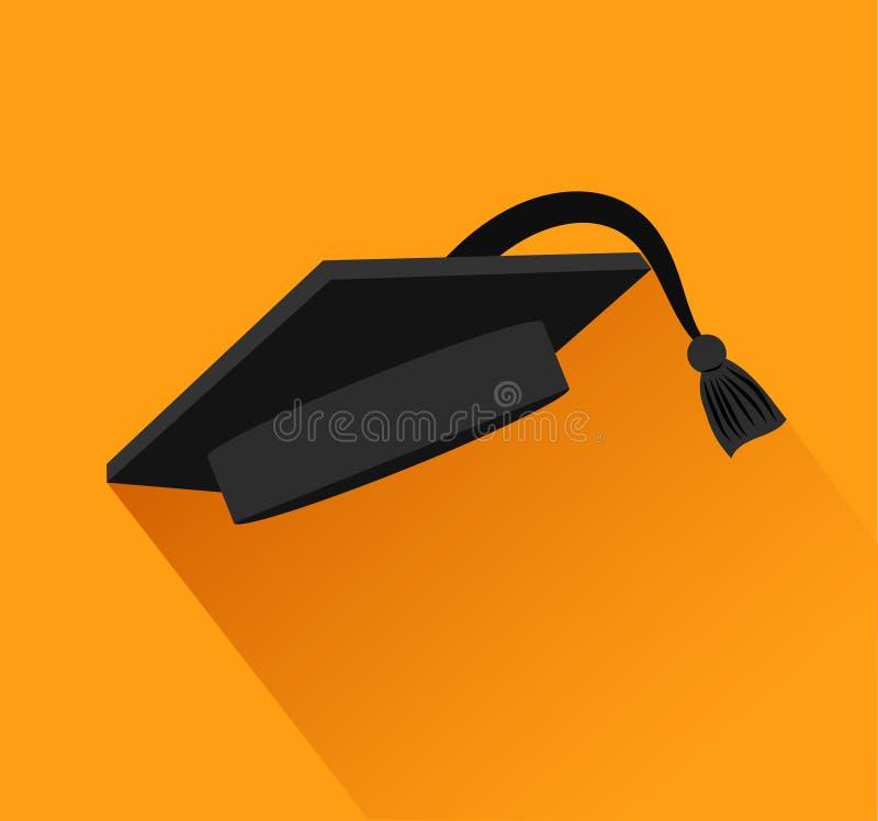 Avläggande av examenlock med svart kabel över orange bakgrund färgrikt royaltyfri illustrationer