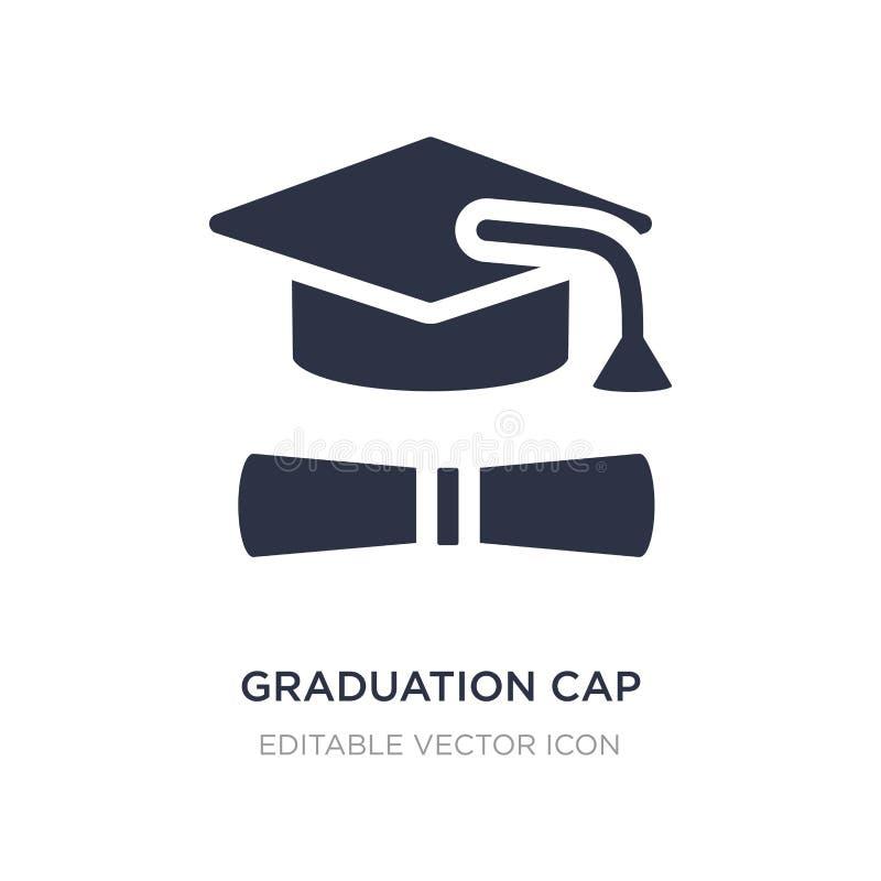 avläggande av examenlock- och diplomsymbol på vit bakgrund Enkel beståndsdelillustration från utbildningsbegrepp stock illustrationer