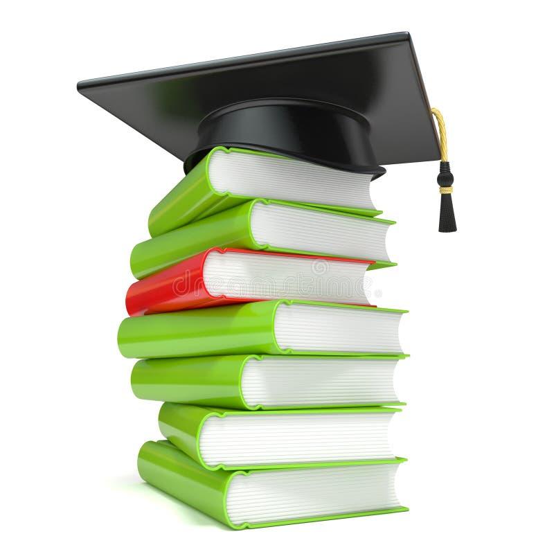 Avläggande av examenlock på bokbunt 3d stock illustrationer