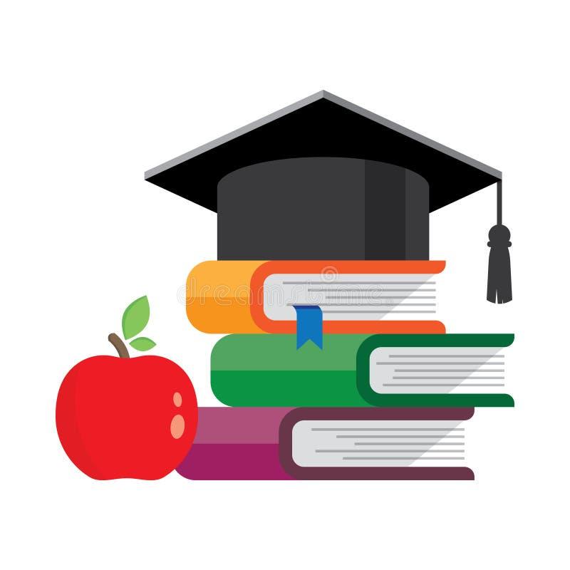 Avläggande av examenlock på staplade böcker stock illustrationer