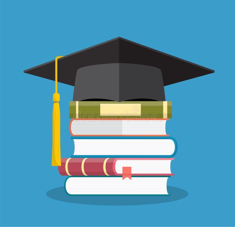 Avläggande av examenlock på staplade böcker, royaltyfri illustrationer