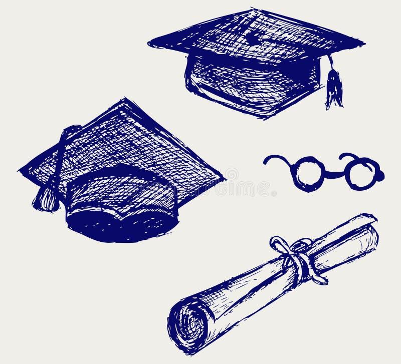Avläggande av examenlock, punkter och diplom stock illustrationer