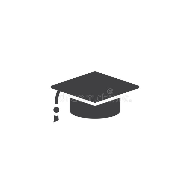 avläggande av examenlocksymbol, fast logoillustration, pictogram I royaltyfri illustrationer