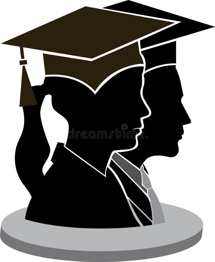 Avläggande av examenpar stock illustrationer