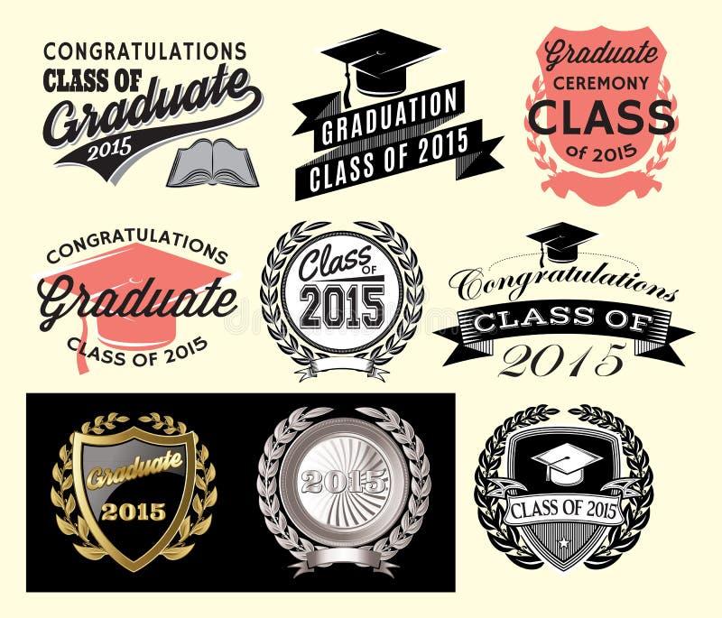 Avläggande av examensektoruppsättning för grupp av 2015 stock illustrationer