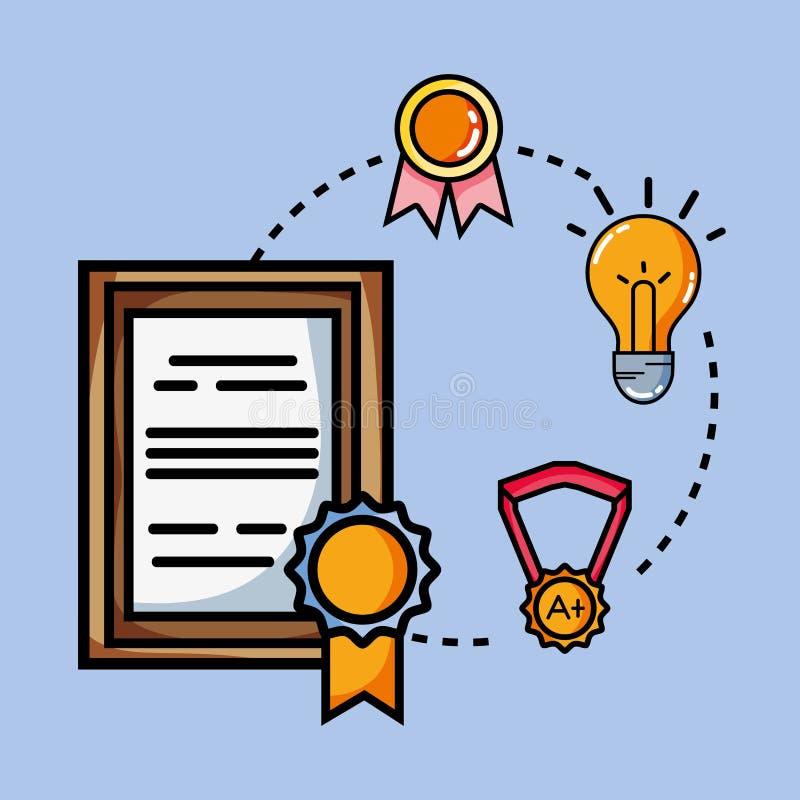 Avläggande av examensymbol över blå bakgrund stock illustrationer