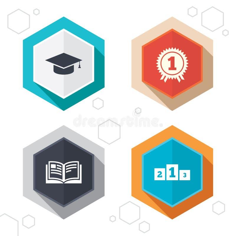 Avläggande av examensymboler Utbildningsboksymbol royaltyfri illustrationer