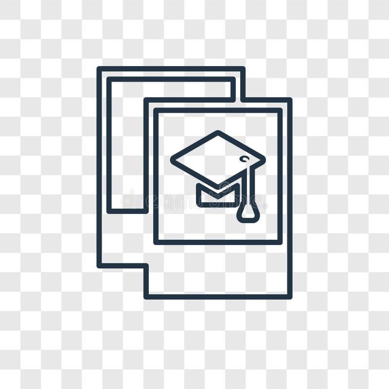 Avläggandet av examen föreställer den linjära symbolen för begreppsvektorn som isoleras på trans. stock illustrationer