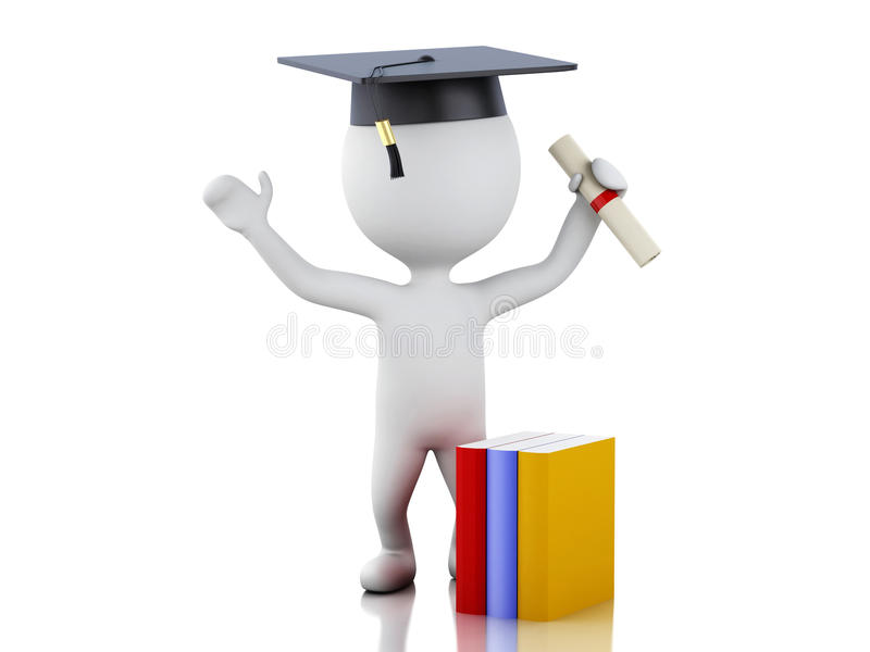 avlägger examen det vita folket 3d med diplomet, avläggande av examenlock royaltyfri illustrationer