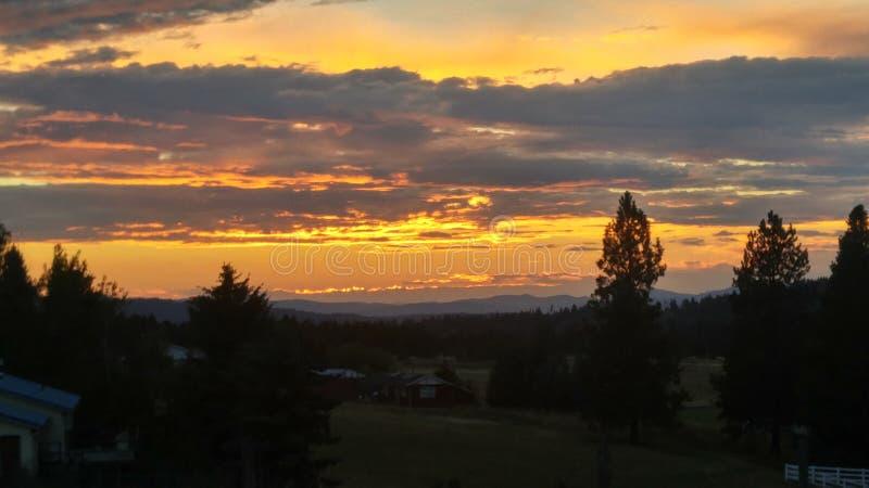 Avlägsen blekna solnedgång arkivbild