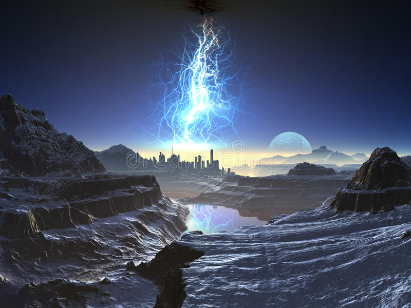 avlägsen elkraft för främmande stad över storm stock illustrationer