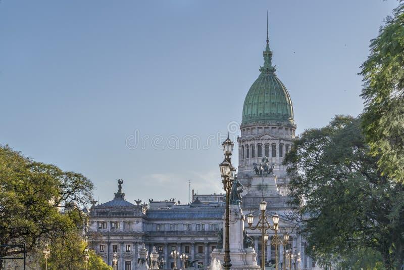 Avlägsen sikt av kongressslotten i Buenos Aires Argentina arkivbild