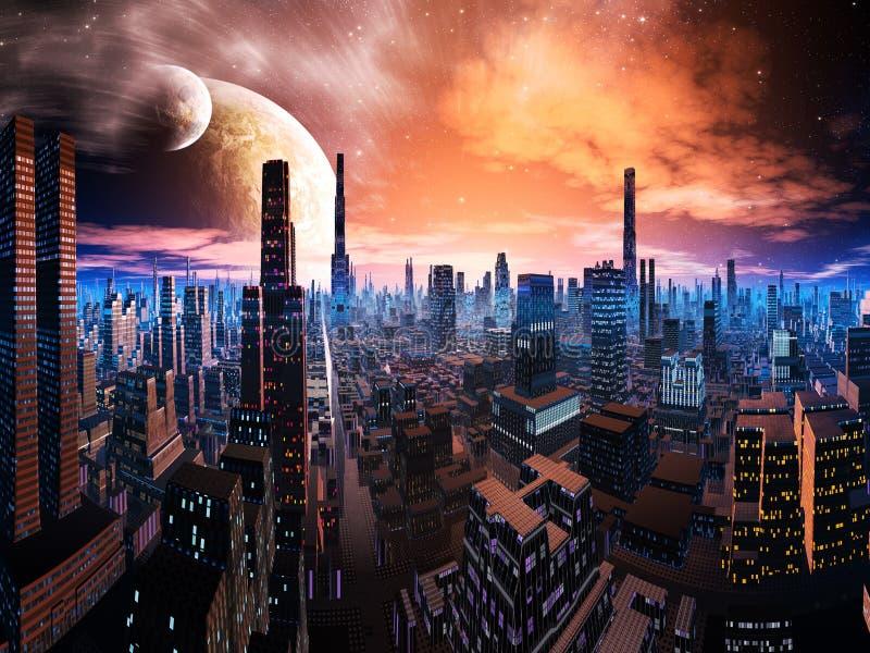 avlägsen tänd neonvärld för cityscape stock illustrationer