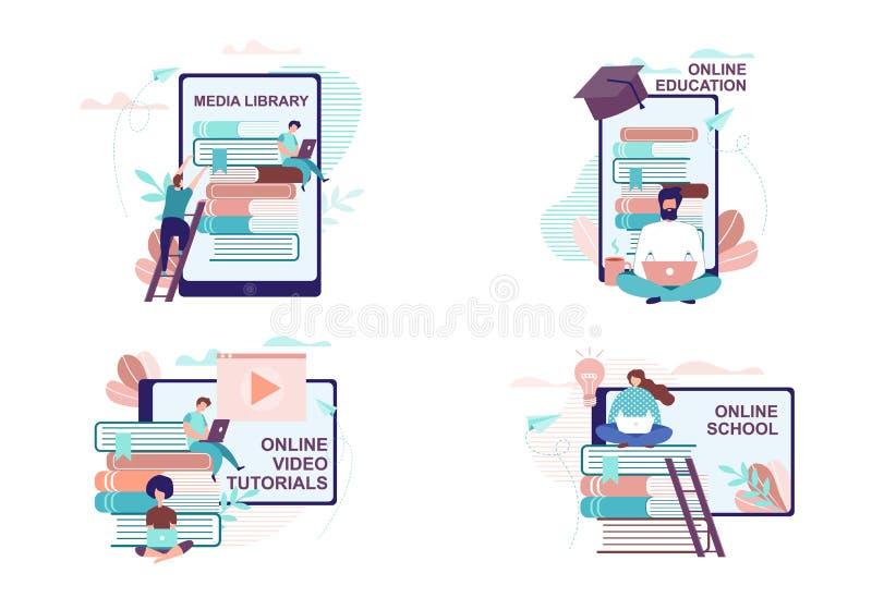 Avlägsen utbildning och utbildningsannonseringuppsättning vektor illustrationer