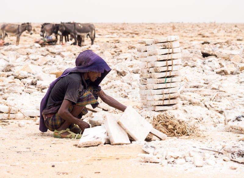Avlägset bryta för man som är salt från salta lägenheter i den avlägsna regionen, Danakil Dep arkivfoton