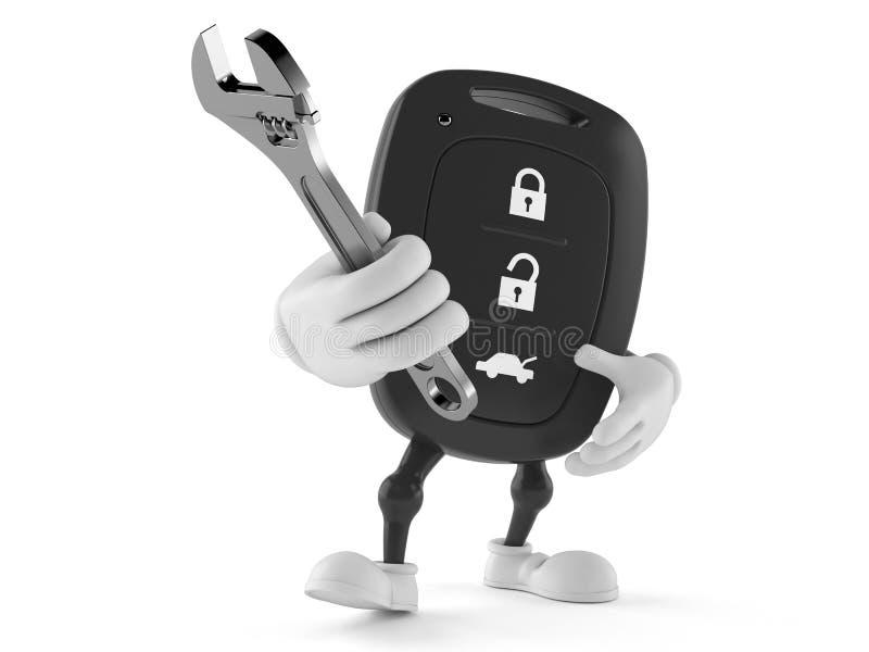 Avlägset nyckel- tecken för bil som rymmer den justerbara skiftnyckeln vektor illustrationer