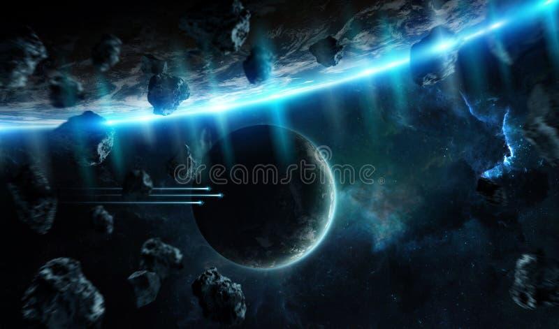 Avlägset planetsystem i utrymme med tolkningelem för exoplanets 3D stock illustrationer